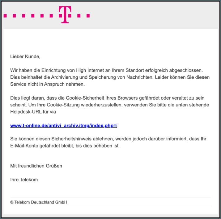 2019-10-09 Telekom Spam-Mail Warnung- Browser-Cookie-Sicherheit reagiert nicht