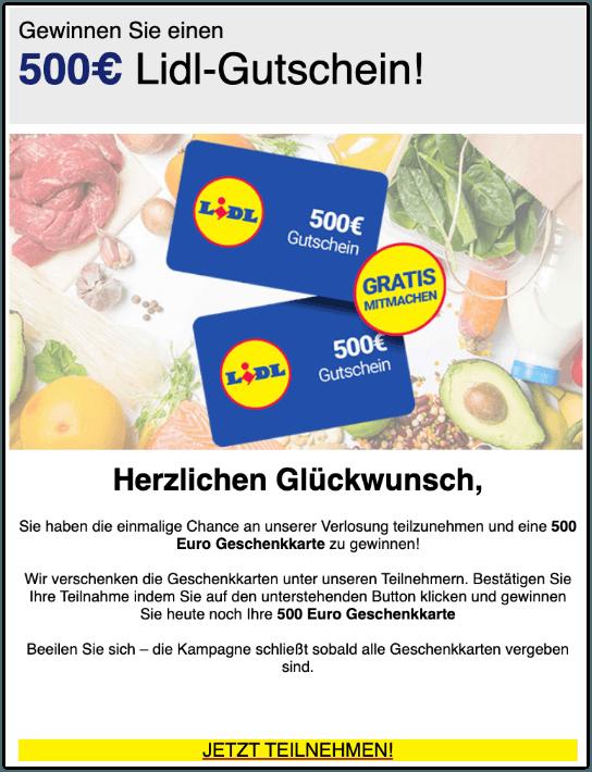 2019-10-10 E-Mail 500 Euro Lidl-Gutschein