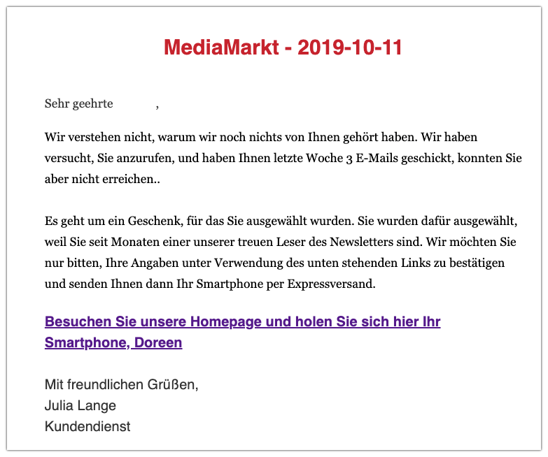 2019-10-11 Fake-Mail Media Markt Wichtige Nachricht