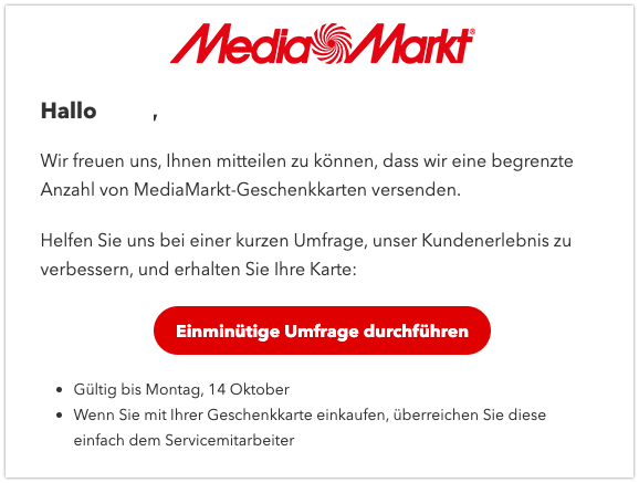 2019-10-14 Spam-Mail Media Markt MediaMarkt-Geschenkkarte