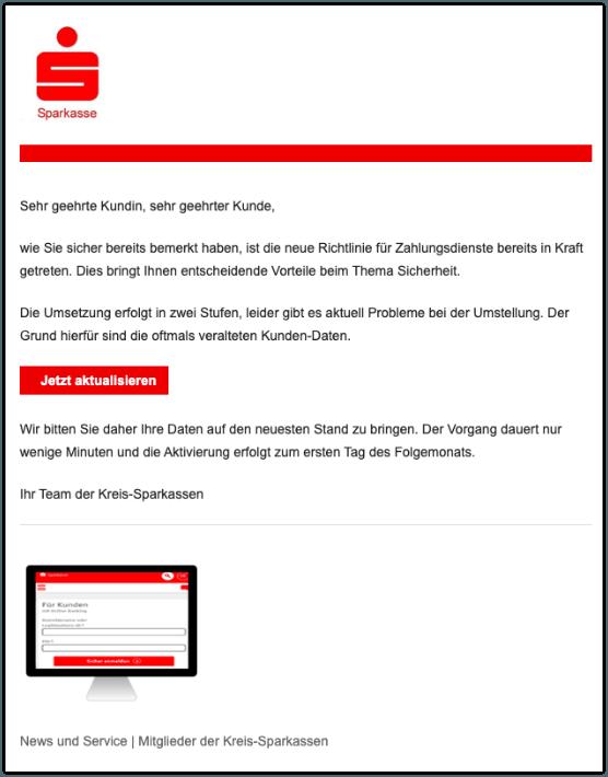 2019-10-16 Sparkasse Spam-Mail News und Service Kreis-Sparkasse