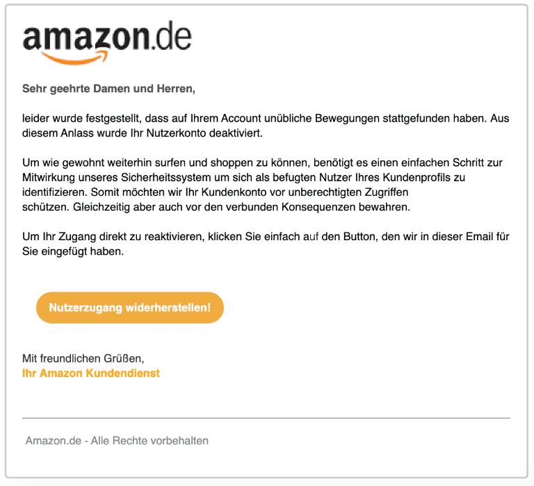 2019-10-19 Amazon Spam-Mail Neue Mitteilung