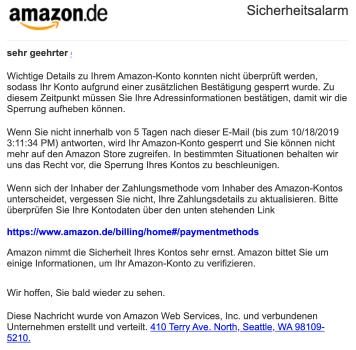 2019-10-19 Amazon Spam-Mail Wenn Sie nicht innerhalb von 24 Stunden nach dieser E-Mail
