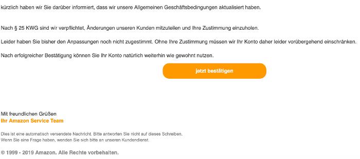 2019-10-19 Amazon Spam-Mail eingeschraenktes Nutzerkonto