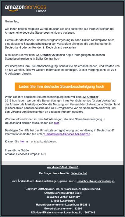 2019-10-22 Amazon Spam-Mail Erinnerung- Deutsche Steuerbescheinigung erforderlich