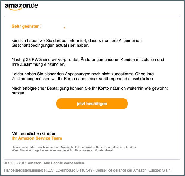 2019-10-25 Amazon Spam-Mail dein Zugang wurde eingeschraenkt