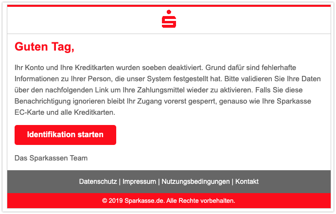 2019-10-25 Sparkasse Phishing-Mail Identifikationsverfahren Information
