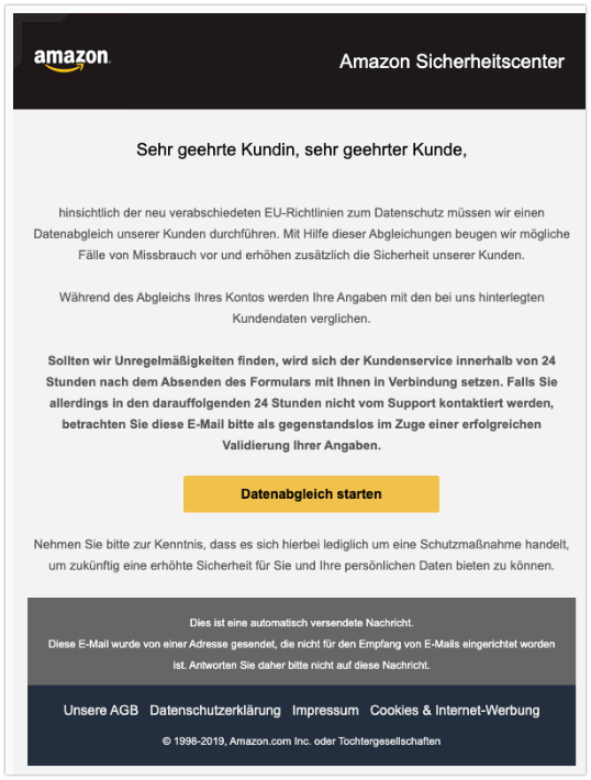 2019-10-27 Amazon Spam-Mail Datenabgleich erforderlich mit Ihrem Amazon-Konto