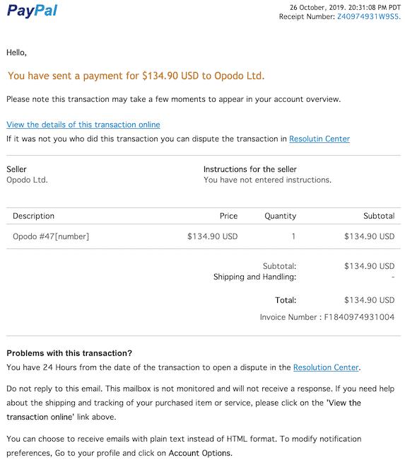 2019-10-27 Phishing PayPal