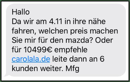 2019-10-28 SMS carolala-de Werbung