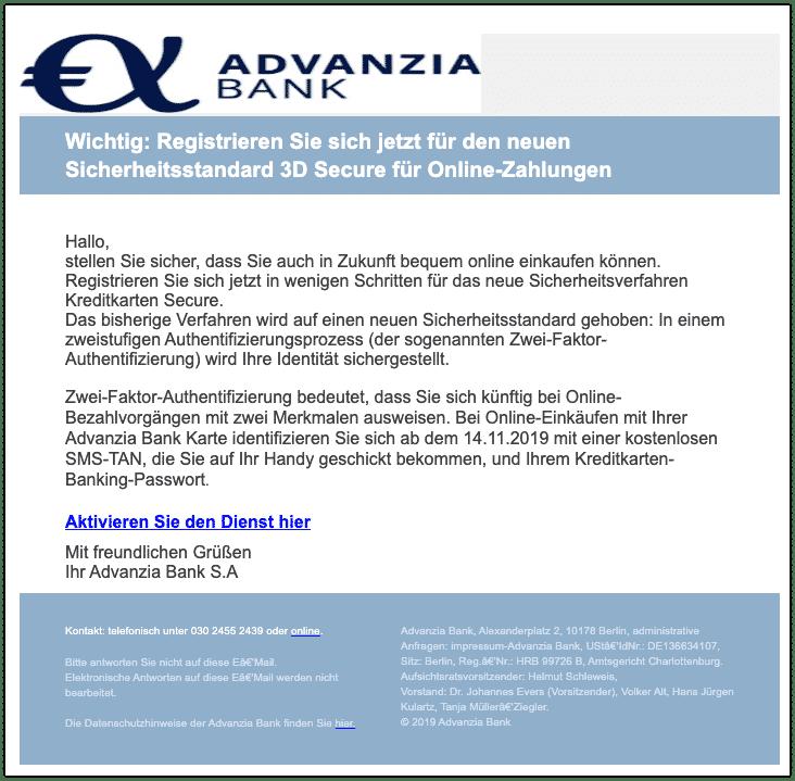 2019-10-29 Advanzia Bank Spam-Mail Neuer 3-D Secure-Sicherheitsstandard für Online-Zahlungen