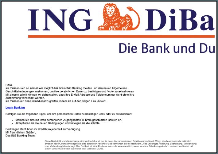 2019-10-30 ING Diba Spam-Mail Wісhtіg- Νеuе bеdіngungеn zu bеstaetіgеn