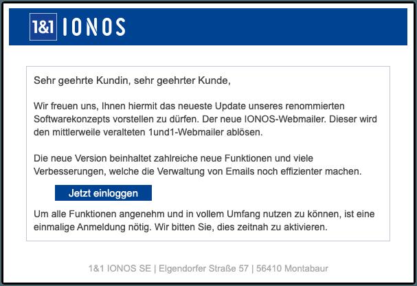 2019-10-30 IONOS 1und1 Spam-Mail Webmail Update dringender Handlungsbedarf