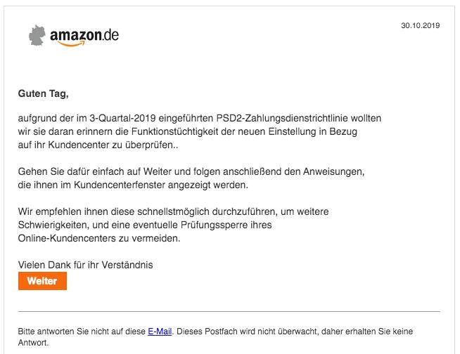 2019-10-31 Amazon Spam-Mail Kundenerinnerung
