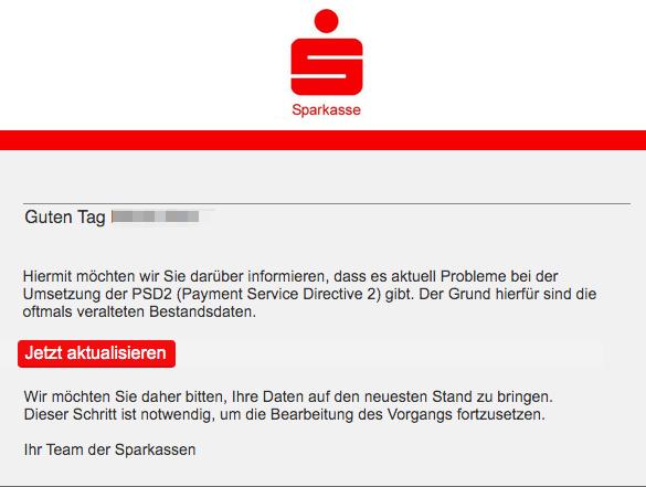 2019-10-31 Sparkasse Spam-Mail Kunde Info