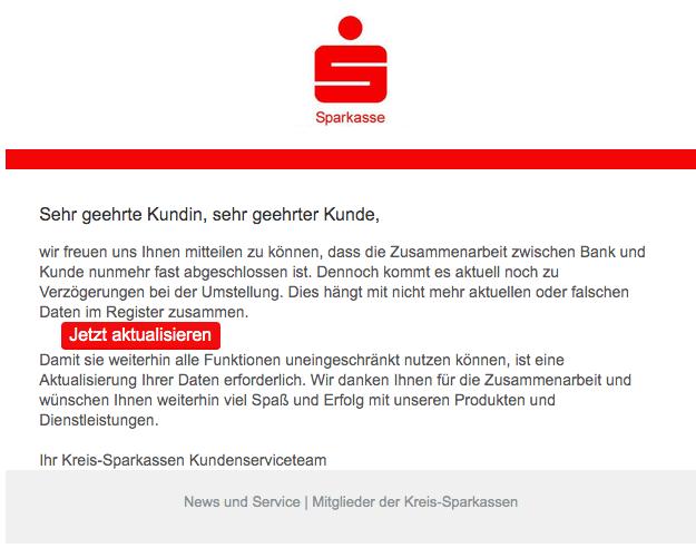2019-10-31 Sparkasse Spam-Mail News und Service Kreis-Sparkasse