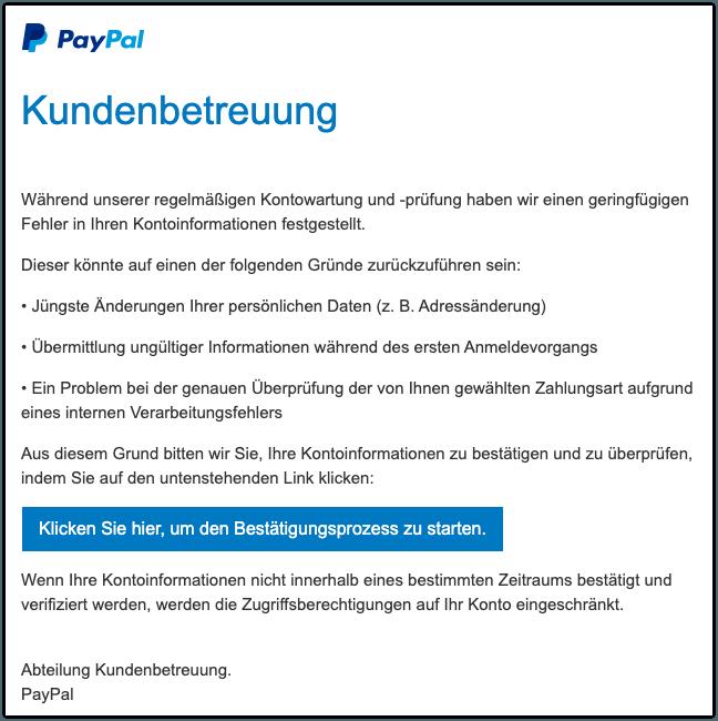 2019-11-01 PayPal Fake-Mail Ihre Reaktion ist erforderlich