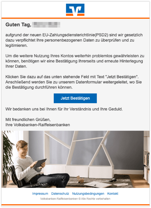 2019-11-01 Volksbank Spam-Mail PSD2
