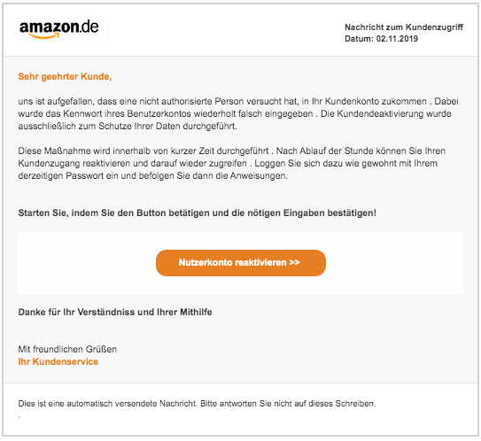 2019-11-02 Amazon Fake-Mail Aktuelle Nutzermitteilung