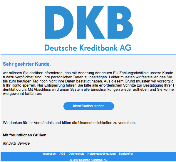 2019-11-02 DKB Spam Mail Kundeninformation