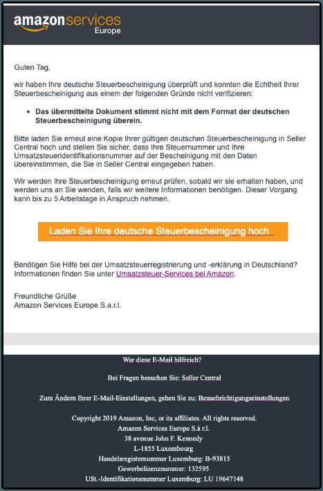 2019-11-05 Amazon Spam-Mail Deutsche Steuerbescheinigung abgelehnt