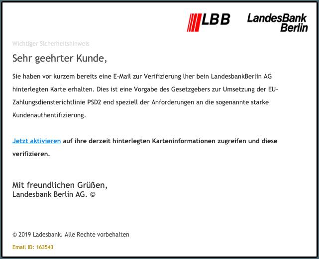 2019-11-05 LBB Fake-Mail Wichtiger Sicherheitshinweis