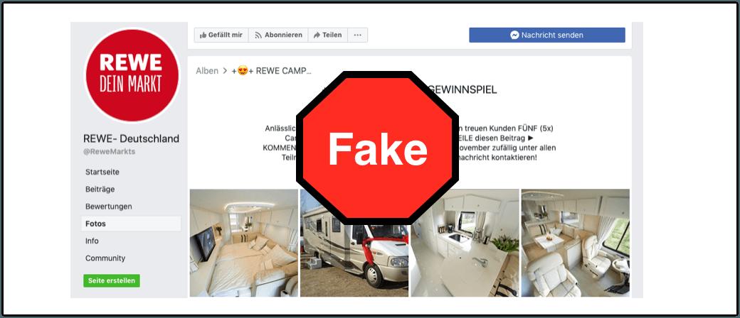2019-11-13 Facebook Gewinnspiel Fake Rewe Camper