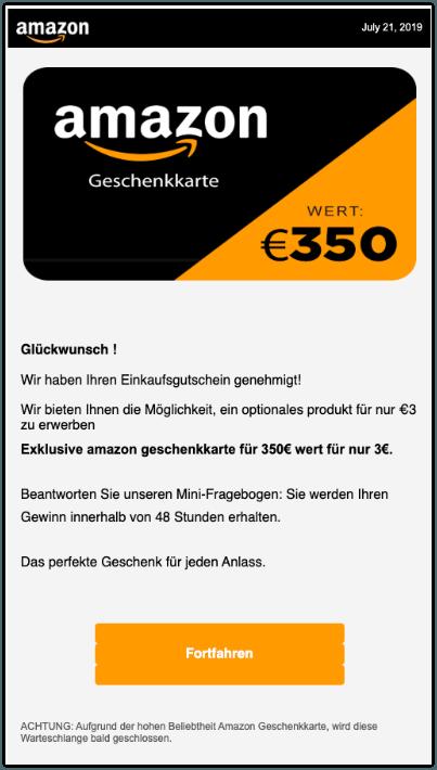 2019-11-15 Amazon Spam-Mail Geschenkkarte 350 Euro