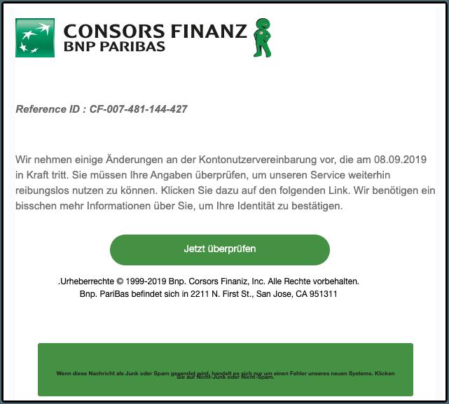 2019-11-16 Consors Bank Spam-Mail Wir nehmen einige Aenderungen an der Kontonutzervereinbarung vor