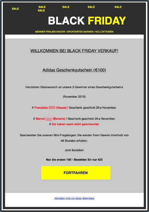 2019-11-28 Adidas Fake-Mail Gutschein 100 Euro BLACK FRIDAY