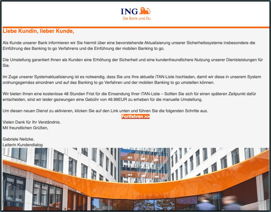2019-11-28 ING Bank Fake-Mail Umstellung auf das Banking to go Verfahren