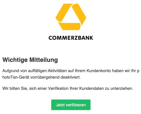2020-02-03 Commerzbank Spam-Mail Wichtige Information bzgl Ihres Tan-Verfahrens