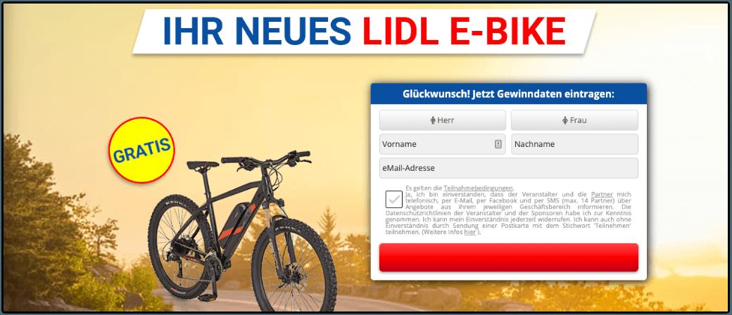 Lidl E-Bike Gewinnspiel Datensammler