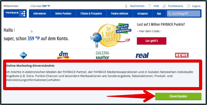 Payback Online Marketing Einverstaendnis Webseite