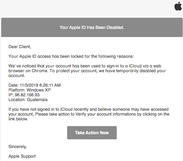 2019-11-03 Apple Spam-Mail Your Apple ID was locked due to security reasons