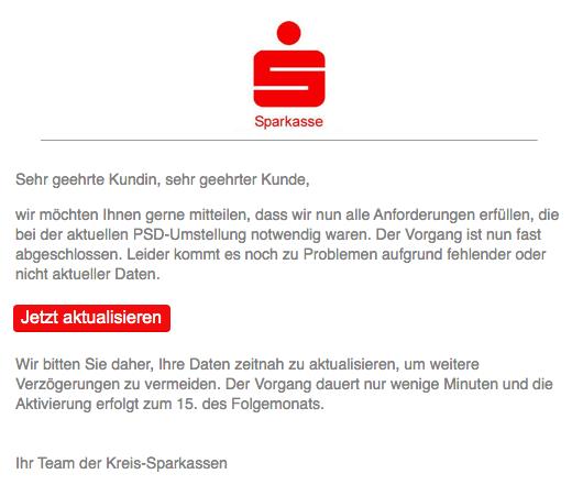 2019-11-03 Sparkasse Spam-Mail Beratung und Service - Mitglieder der Kreis-Sparkassen