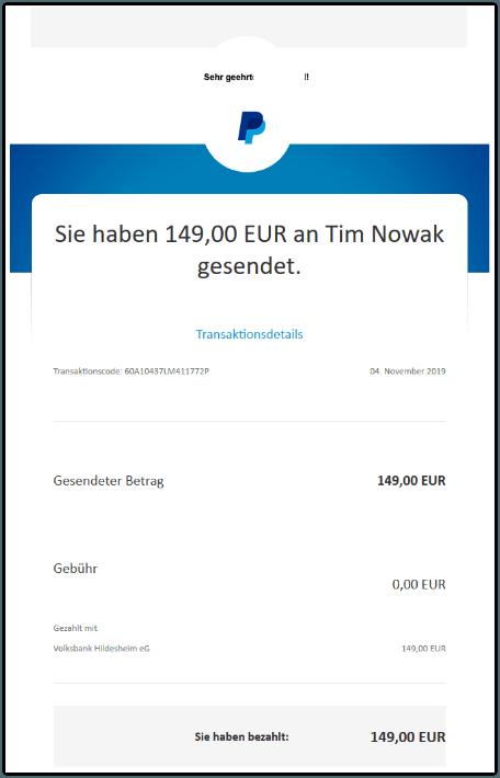2019-11-04 PayPal Zahlungsbestaetigung Ihre Zahlung war erfolgreich