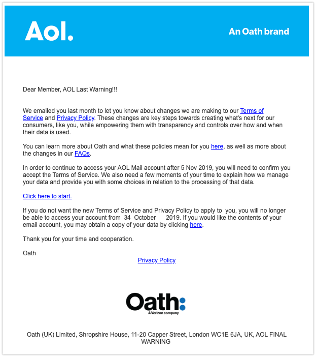 2019-11-05 AOL OATH Fake-Mail