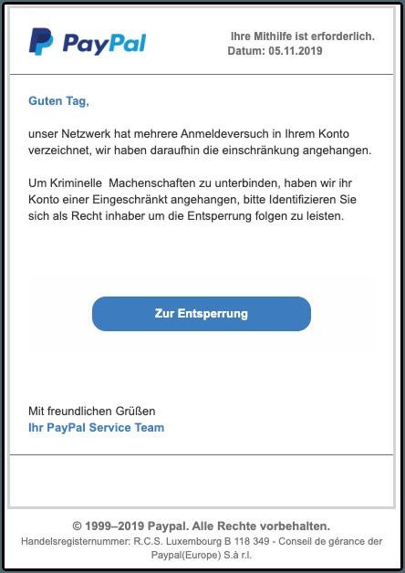 2019-11-05 PayPal Fake-Mail Unbefugte Zugriffe in ihren Nutzerkonten