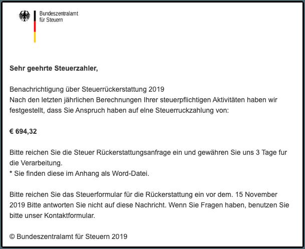 2019-11-06 E-Mail Bundeszentralamt fur Steuern Steuerruckerstattung