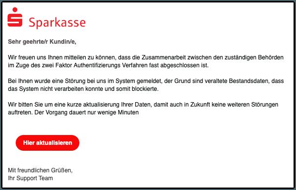 2019-11-06 Sparkasse Phishing-Mail Aktualisierung