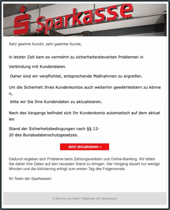 2019-11-06 Sparkasse Spam-Mail Information zu Ihrem Kundenkonto