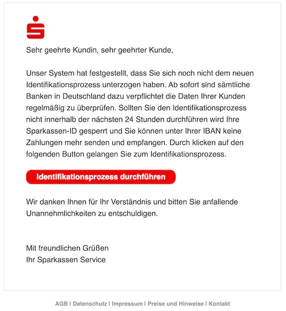 Phishing Sperrung Ihrer Sparkassen-ID