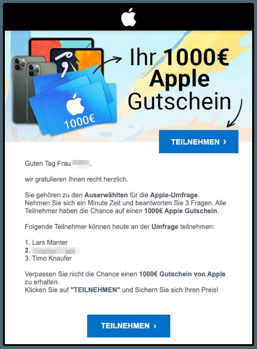 2019-11-08 Spam-Mail Apple 1000 Euro Gutschein