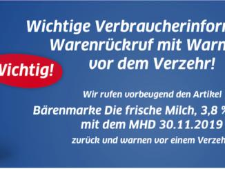 2019-11-10 Rückruf Bärenmarke Milch