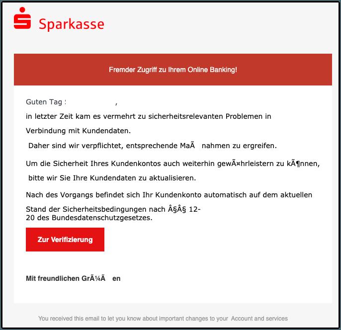 2019-11-12 Sparkasse Spam-Mail Information zu Ihrem Kundenkonto