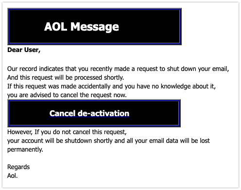 2019-11-13 AOL Phishing-Mail Cancel now