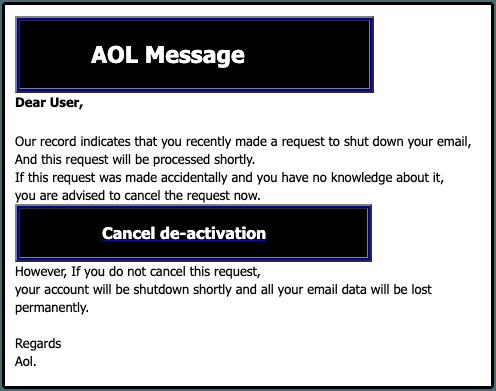 2019-11-13 AOL Phishing-Mail Cancel now