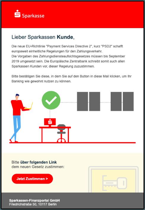 2019-11-14 Sparkasse Spam-Mail Wichtige Information PSD2