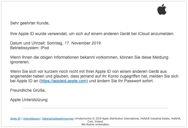 2019-11-17 Apple Phishing-Mail Ihre iCloud wurde verwendet um eine Verbindung zu einem anderen Geraet herzustellen